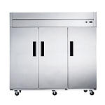 Dukers D83AR Commercial 3-Door Top Mount Refrigerator in Stainless Steel