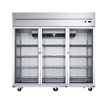 Dukers D83AR-GS3 Top Mount Glass 3-Door Commercial Reach-in Refrigerator