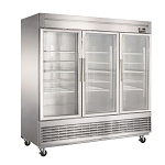 Dukers D83R-GS3 Bottom Mount Glass 3-Door Commercial Reach-in Refrigerator