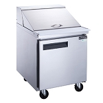 Dukers DSP29-12M-S1 1-Door Commercial Food Prep Table Refrigerator in Stainless Steel with Mega Top