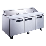 Dukers DSP72-20-S3 3-Door Commercial Food Prep Table Refrigerator in Stainless Steel