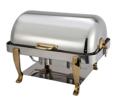 FULL SIZE CHAFER W/GOLD PLATED HDL&LEG