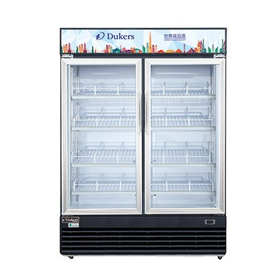 Dukers DSM-41R Commercial Glass Swing 2-Door Merchandiser Refrigerator